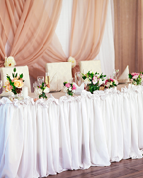 White Table Drape Rentals